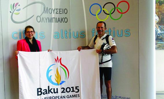 Yunanıstanın Olimpiya Muzeyinə birinci Avropa Oyunlarının bayrağı təqdim olunub