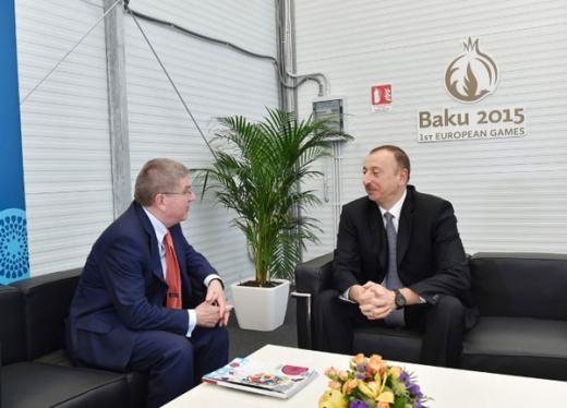 Azərbaycan Prezidenti İlham Əliyev Beynəlxalq Olimpiya Komitəsinin prezidenti Tomas Bax ilə görüşüb